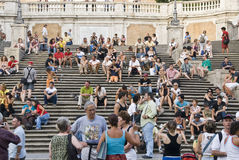 Spanish Steps. Famous Scalinata di Trinità dei Monti, Spanish Steps, meeting point for tourists in Rome, Italy at the via condotti Royalty Free Stock Photo