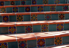 Spanish Steps. These steps are inlaid with colorful Spanish tiles in downtown Ojai, California royalty free stock images