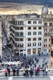 Spanish steps aerial view, Via Condotti and Dome. Sunset Royalty Free Stock Photos