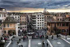 Spanish steps aerial view, Via Condotti and Dome. Sunset Royalty Free Stock Images