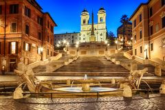 Spanish Steps and Fontana della Barcaccia night view, no people, Rome, Italy stock photos