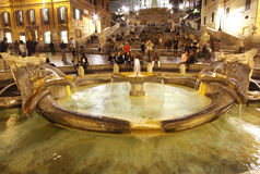 Spanish steps fountain Royalty Free Stock Photography