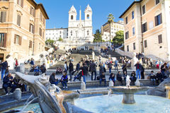 Spanish Steps at morning Stock Images
