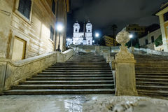 The spanish steps at the night royalty free stock photos
