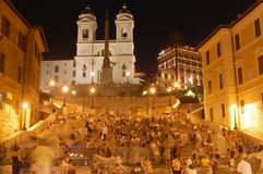 Spanish Steps at Night Royalty Free Stock Photos