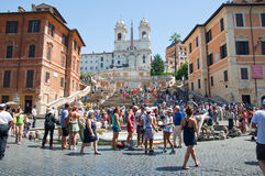The Spanish Steps from Piazza di Spagna on August 6, 2013 in Rome, Italy. Stock Photos