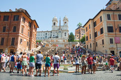 The Spanish Steps from Piazza di Spagna on August 6, 2013 in Rome, Italy. Royalty Free Stock Photos