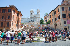 The Spanish Steps from Piazza di Spagna on August 6, 2013 in Rome, Italy. Stock Images