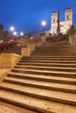 Spanish Steps in Rome. Rome, Italy - Spanish steps and Trinita dei Monti by night Stock Photo