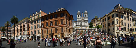 Spanish steps in Rome. Panoramic view of the Spanish Steps in Rome, Italy Royalty Free Stock Photo