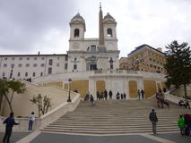 Spanish steps in Rome. Church ontop of the Spanish steps in Rome, Italy Royalty Free Stock Images