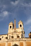 Spanish steps in Rome, Italy. Piazza di Spagna (Spanish Steps) and church Trinita dei Monti Royalty Free Stock Photos