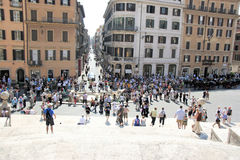Spanish Steps Rome Italy. Tourist on  steps of  Spanish Steps in Rome, Italy Royalty Free Stock Photography