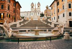 Spanish Steps in Rome, Italy nobody. Spanish Steps in the Plaza of Spain in Rome in the early morning without people Royalty Free Stock Photography