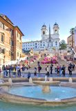 The Spanish Steps in Rome, Italy. People on the the Spanish Steps in Rome, Italy. The monumental stairway of 135 steps are not a place for eating lunch, being Royalty Free Stock Image
