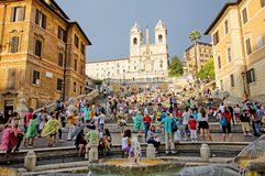 The Spanish Steps, Rome, Italy. The spanish steps, Rome, Italy, seen from the Fontana della Barcaccia, the sinking boat fountain by Bernini Royalty Free Stock Image