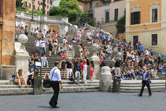 The Spanish Steps, Rome, Italy. The spanish steps, Rome, Italy, seen from the Fontana della Barcaccia, the sinking boat fountain by Bernini Stock Image