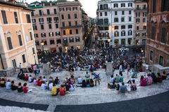 The Spanish Steps Rome Italy. The Spanish Steps are a set of steps in Rome, Italy, climbing a steep slope between the Piazza di Spagna at the base and Piazza Royalty Free Stock Photo