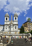 Spanish Steps, Rome, Italy. The Spanish Steps are a set of steps in Rome, Italy, between the Piazza di Spagna at the base and Piazza Trinità dei Monti Stock Photos