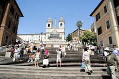 Spanish Steps Rome Italy. Tourist crowd  steps at the Spanish Steps in Rome, Italy Royalty Free Stock Photos