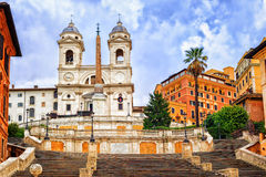 Spanish Steps, Rome, Italy. Spanish Steps and Trinita dei Monti church, a famous tourist destination in Rome, Italy royalty free stock photos