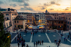 Spanish steps in Rome, Italy. View from the Spanish steps in Rome, in the late afternoon Stock Images