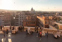 Spanish steps rome. Look at rome from spanish steps Royalty Free Stock Photo