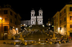 Spanish Steps in Rome by night Stock Photos
