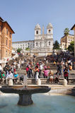 Spanish Steps. ROME - September 29:  Spanish Steps on September 29, 2011 in Rome, Italy. Tourists relax in the famous Spanish steps  between the Piazza di Spagna Stock Image