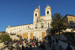 Spanish Steps in Rome at sunset. Church of Trinita` dei Monti Spanish Steps in Rome, Italyn28/12/2016 Stock Photography