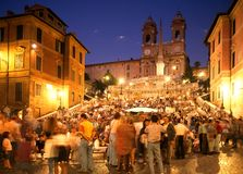 The Spanish Steps, Rome. Tourists sitting on the Spanish Steps at night, Rome, Italy, Europe Royalty Free Stock Photo