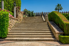 Spanish steps in royal gardens of the Alcazar de los Reyes Crist. Spanish steps to the orchard in royal gardens of the Alcazar de los Reyes Cristianos castle in Stock Images