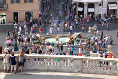 View from the Spanish Steps at early baroque fountain, Rome Stock Photo
