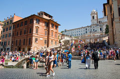 The Spanish Steps, seen from Piazza di Spagna on August 6, 2013 in Rome, Italy. Royalty Free Stock Photo