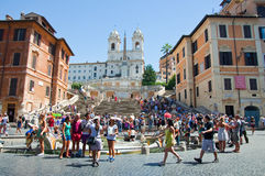The Spanish Steps, seen from Piazza di Spagna on August 6, 2013 in Rome, Italy. Stock Images