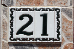 Spanish street number 21 Royalty Free Stock Images