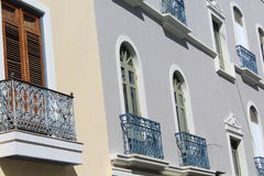 Spanish style balconies. In the colonial houses of puerto rico royalty free stock images