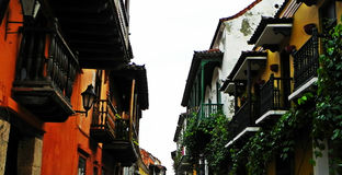 Spanish-style balconies at the historic city of Cartagena, Colombia Stock Images