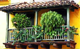 Spanish-style balcony at the historic city of Cartagena, Colombia Royalty Free Stock Images