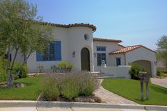 Spanish Style Home. Exterior shot of a Spanish style home that was recently constructed in Northern California Stock Image