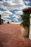 Spanish Style Patio Overlooking the Beach Royalty Free Stock Photography