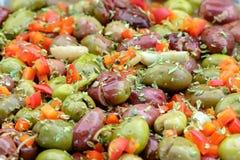 Spanish style seasoned olives background. Spanish style seasoned olives background Stock Photo