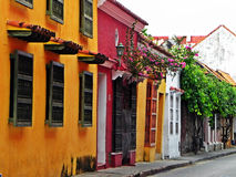 Spanish-style street at the historic city of Cartagena, Colombia Stock Photos