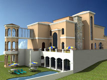 Spanish style villa. A 3d render of a spanish style villa Stock Images