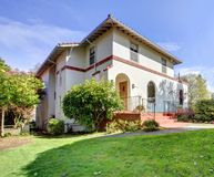 Spanish style white large home front exterior. Royalty Free Stock Images
