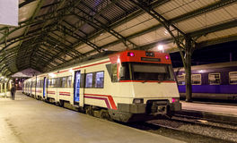 Spanish suburban electric train at French station Cerbere Royalty Free Stock Image