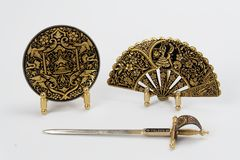Spanish Sword, Plate and Fan Stock Image