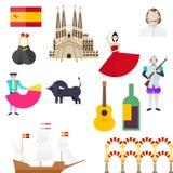 Spanish symbols, signs and landmarks. Architecture of Barcelona  Spanish Armada  Bullfighting  Torero  Bull  Sagrada Familia  Spanish flag  Castanets  Guitar Stock Image