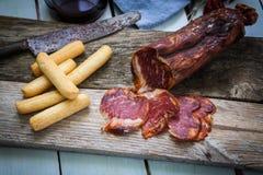 Spanish tapa of lomo. Tapas Iberico ham and lomo sausage from Spain Stock Images