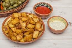 Spanish tapa patatas bravas Royalty Free Stock Photos